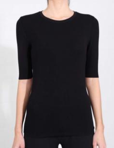T-shirt noir manches courtes à bords francs THOM KROM