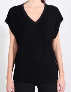T-shirt noir éponge à bords francs THOM KROM