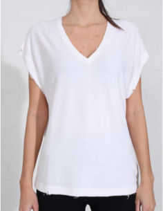 THOM KROM White terry towelling tee with clean edges
