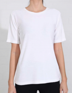 THOM KROM White terry towelling tee with used edges