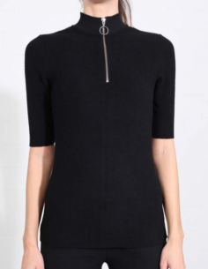 THOM KROM Black tee with zipped funnel collar
