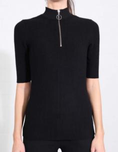 T-shirt noir à col cheminée zippé THOM KROM