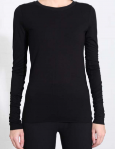 THOM KROM Black long-sleeved tee with clean edges