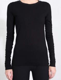 T-shirt noir manches longues à bords francs THOM KROM