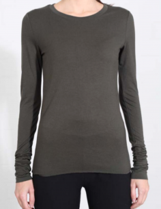 THOM KROM khaki long-sleeved tee with clean edges