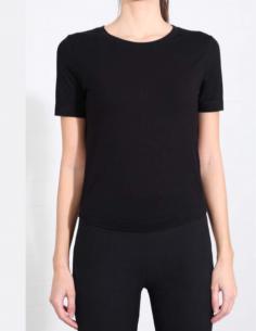 T-shirt noir à col rond THOM KROM