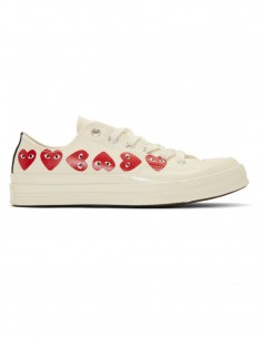 CDG PLAY x CONVERSE white low multi-hearts