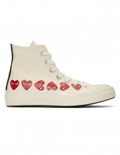 CDG PLAY x CONVERSE white high top multi-hearts