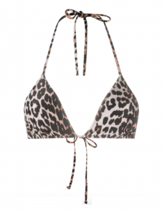GANNI leopard bikini top