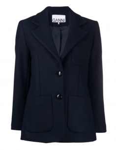GANNI blue wool jacket with two buttons