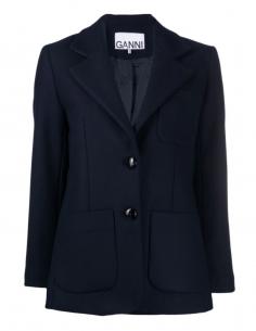 Veste bleue à deux boutons en laine GANNI