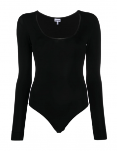 GANNI black long-sleeved body with round collar