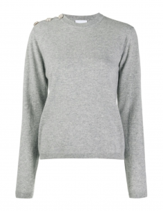 GANNI Grey cashmere sweater with buttons