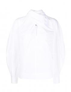 Blouse blanche avec noeud lavallière GANNI