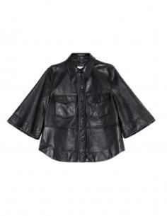 GANNI Black leather shirt with oversized sleeves
