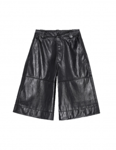 GANNI black leather high-waisted shorts