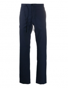MAISON MARGIELA Straight blue pants with drawstring waistband for men