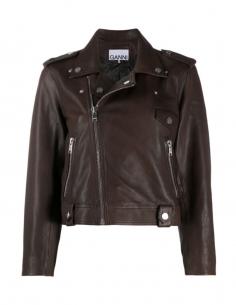 GANNI Brown short leather jacket