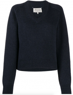 MAISON MARGIELA Blue pullover with V neckline for women