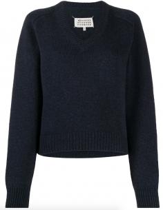 Pull bleu avec col en V et couture contrastée MAISON MARGIELA
