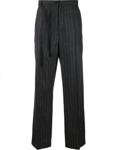 MAISON MARGIELA Black striped virgin wool pants for men
