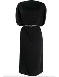 MAISON MARGIELA black belted draped midi dress