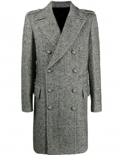 BALMAIN grey double-breasted herringbone coat for men