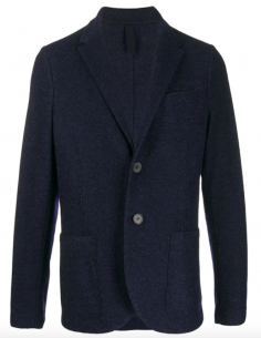HARRIS WHARF LONDON Textured blue wool blazer jacket