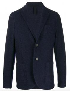 Veste blazer bleue en laine chinée HARRIS WHARF LONDON