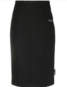 OFF-WHITE Midi black skirt with buttoned slit for women