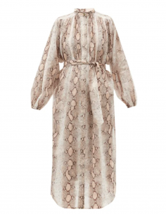 ZIMMERMANN snake-printed long dress with mao collar for women
