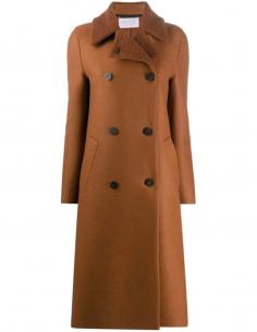 Manteau long marron à col bouclé HARRIS WHARF LONDON pour femme, automne/hiver 2020