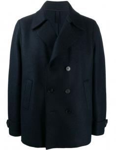 HARRIS WHARF LONDON Double-breasted blue felt pea coat