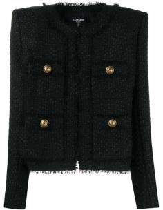 Veste noire en tweed à boutons dorés BALMAIN PARIS pour femme, automne/hiver 2020