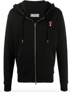 Sweatshirt à capuche zippé avec logo AMI PARIS pour homme, automne/hiver 2020