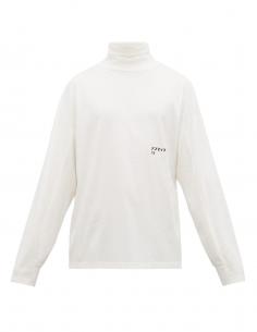 T-shirt blanc col roulé à logo AMBUSH pour homme, automne/hiver 2020