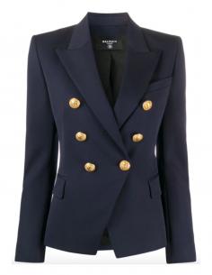 Veste iconique bleue 6 boutons BALMAIN à épaulettes de la collection Automne Hiver 2020.