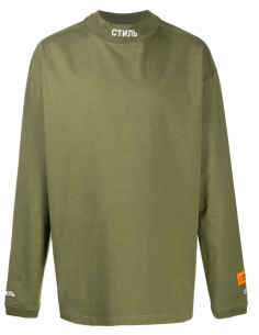 "HERON PRESTON khaki ""CTNMB"" long-sleeved tee for men, fall/winter 2020"