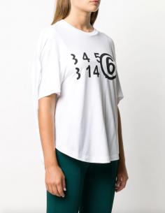 """T-shirt boule blanc """"Number"""" MM6 pour femme, automne/hiver 2020"""