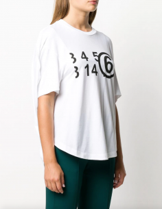 "MM6 white ball ""Number"" tee for women, fall/winter 2020"