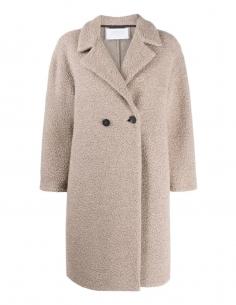 Manteau taupe en laine bouclée HARRIS WHARF LONDON pour femme, automne/hiver 2020