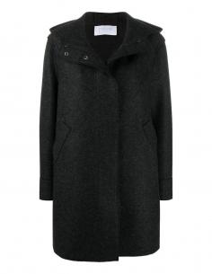 Manteau gris anthracite à capuche HARRIS WHARF LONDON pour femme, automne/hiver 2020