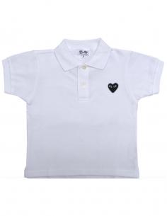 Polo blanc avec coeur noir COMME DES GARCONS KIDS pour enfant, permanent.