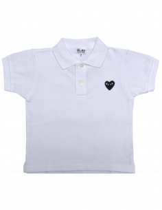 COMME DES GARCONS KIDS white polo shirt with black heart