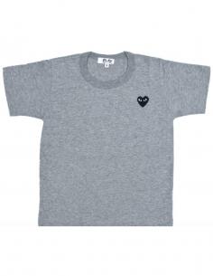 T-shirt gris avec coeur noir COMME DES GARCONS KIDS pour enfant, permanent.