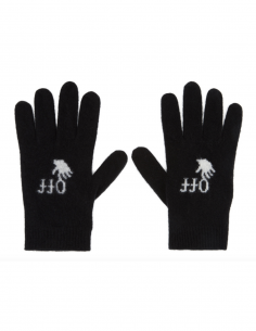 """OFF-WHITE black """"New Logo"""" gloves for women, fall/winter 2020"""