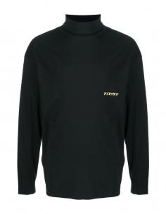 T-shirt noir col roulé à logo AMBUSH pour homme, automne/hiver 2020
