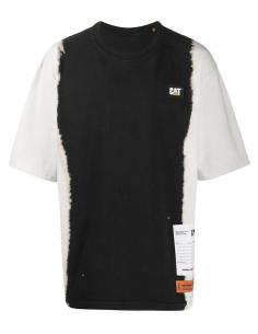 T-shirt noir et blanc tie dye HERON X CAT HERON PRESTON, pour homme, automne/hiver 2020