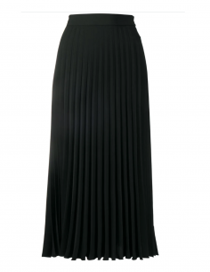 Black pleated MM6 polyester skirt from the Autumn Winter 2020 collection.