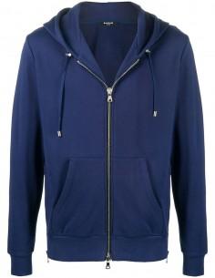 "Sweat à capuche bleu avec logo ""Balmain"" au dos"